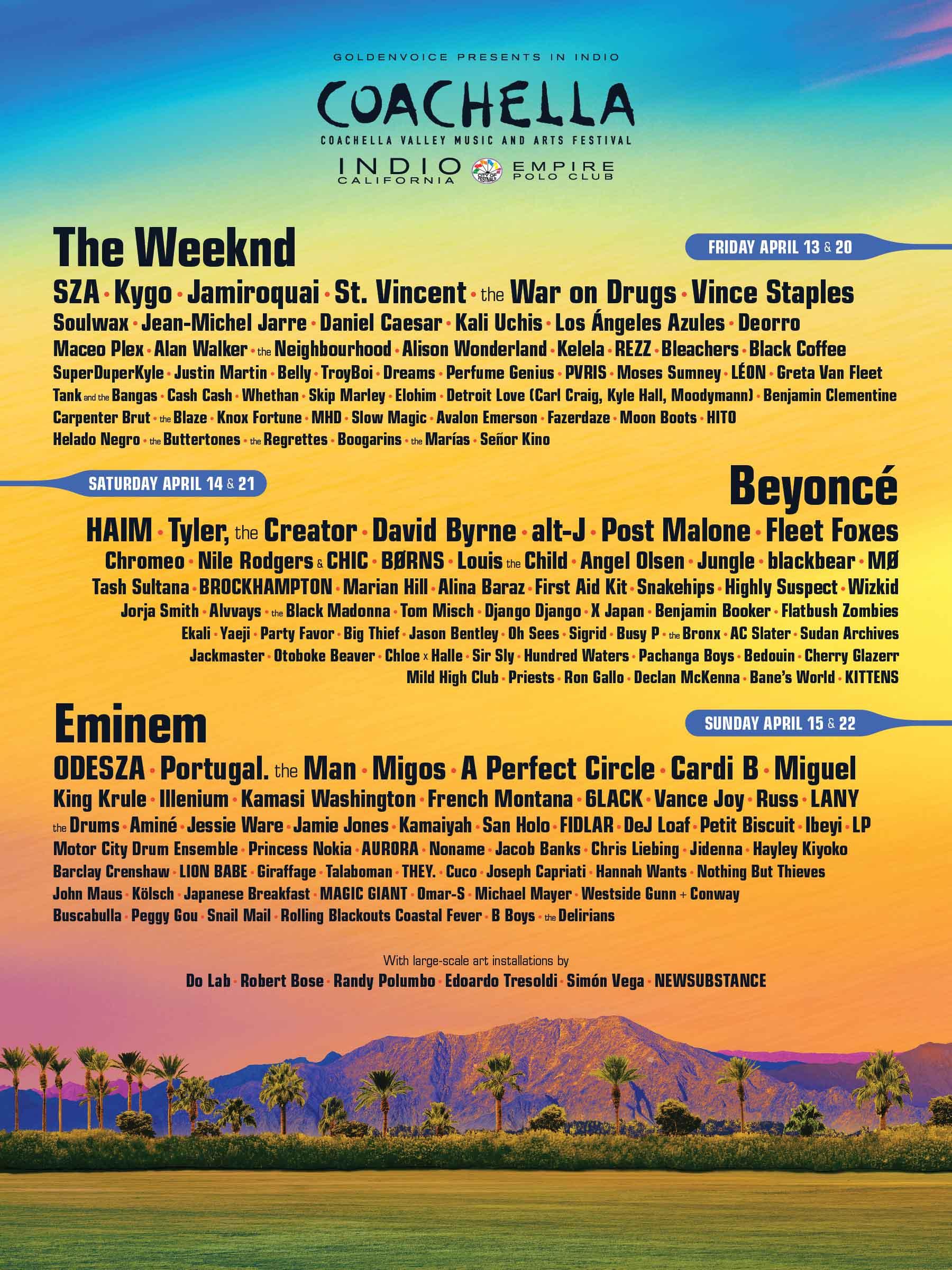 Coachella、2018年のラインナップが発表。ヘッドライナーはBeyoncé、Eminem、The Weeknd