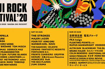 フジロック'20 第2弾ラインナップ&日割り発表!最終日はダブルヘッドライナー!
